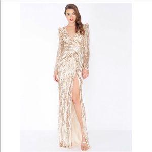 Mac Duggal Sequin High Slit Gown